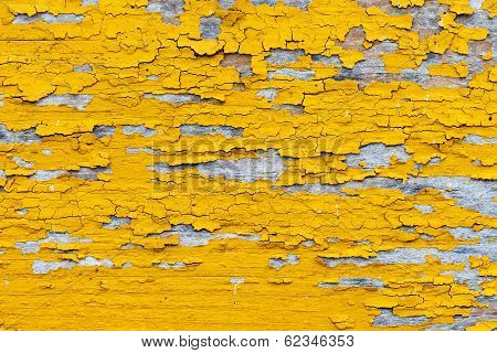 Softened Plank Wall With Bright Yellow Paint