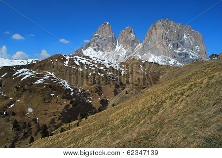 Triple Shear Mountain Peak At Passo Di Sella, The Italian Dolomites