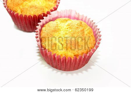 Corn Muffin Biscuits Over A White Background