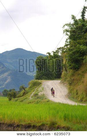Riding a bike around fewa lake,nepal