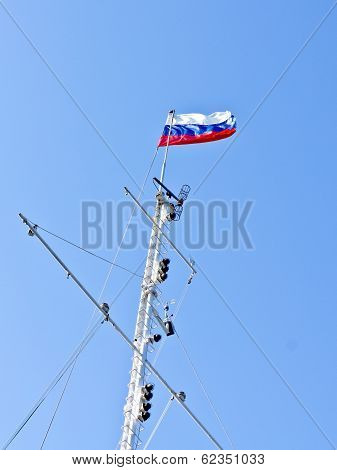 Russia Flag On The Mast