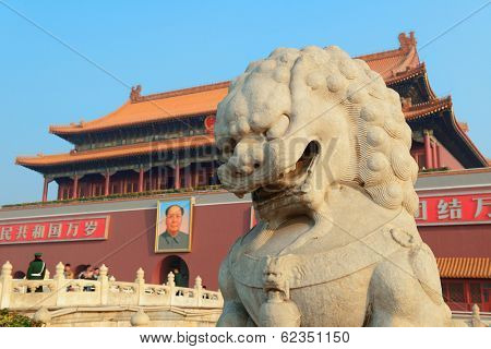 BEIJING, CHINA - APR 1: Tiananmen exterior with lion statue on April 1, 2013 in Beijing, China. It is a famous monument in Beijing and serves as a national symbol.