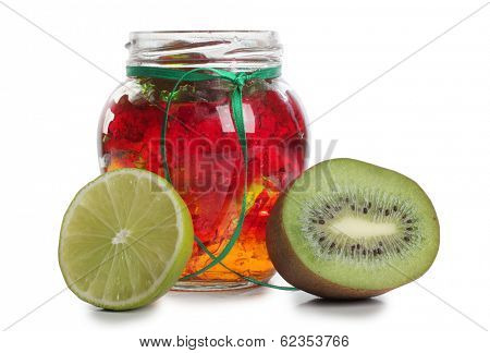 Jam in a glass with raw fruit