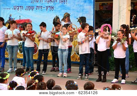 School Children Celebrating Shavuot (pentecost)