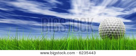 high resolution 3d white golf ball in green grass on a blue sky banner with clouds