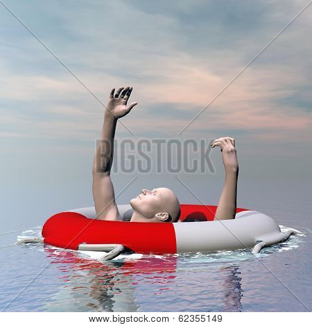 Man drowning - 3D render