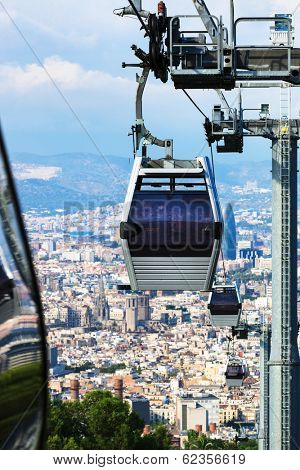 a beautiful modern ropeway against Barcelona