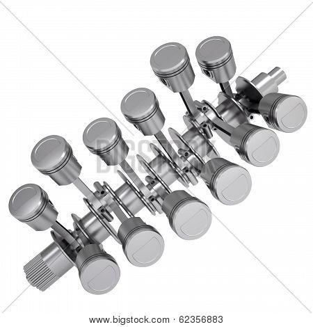 Crankshaft and pistons
