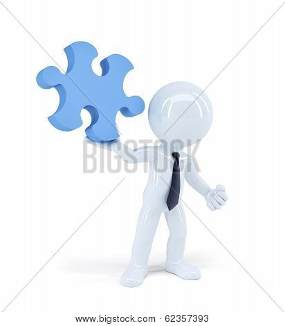 Businessman Holding Puzzle Piece. Business Concept. Isolated
