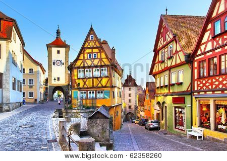 Street in Rothenburg ob der Tauber,  Germany