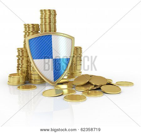 stacks of golden coin isolated