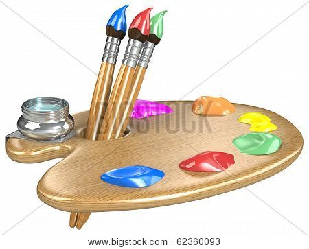 Palette And Brushes.