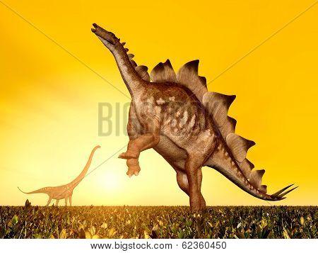 Stegosaurus and Mamenchisaurus