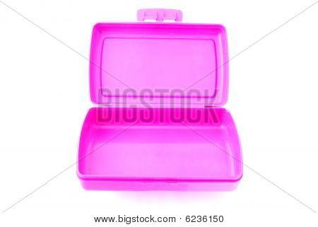 Empty pink lunch box
