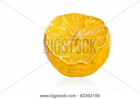 A Dried Lemon Mold Spores On A White Background