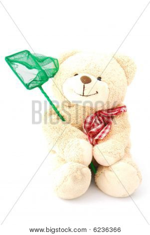 Teddy bear with fishing net