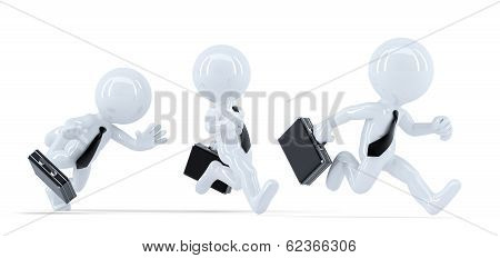 Business People In A Race. Business Competition Concept. Isolated