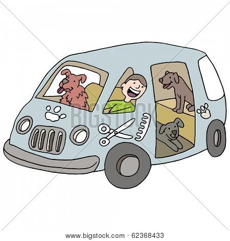 An image of a mobile dog groomer.
