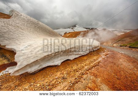 Iceland is a land of ice and fire. In the geothermal area Kerlingarfjoll one can see smoke and boiling fumaroles from the geothermal field as well as mountains covered by ice and snow.