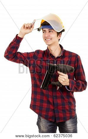 man with a nail gun on a white background