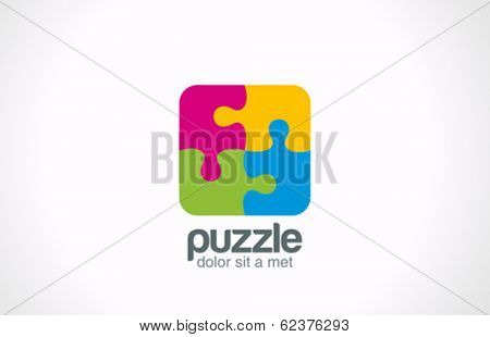 Puzzle Square vector logo design. Funny Rebus entertainment concept. Colorful logic icon.