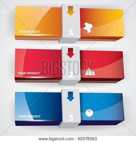 Color package box mock-up. Vector illustration.??????