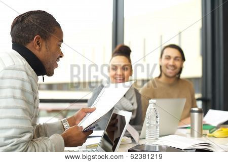 Afro American Man Studying Hard For Final Exams