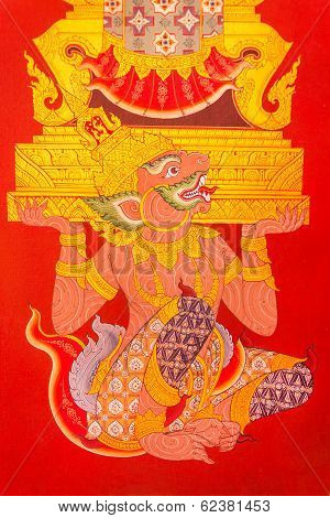 Ancient Mural Painting Of Hanuman Lifting Golden Throne