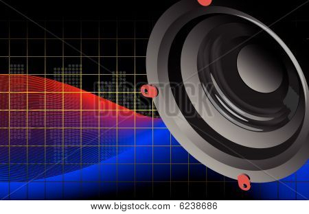 Vector acoustic woofer on an abstract background with the spectrum analyzer