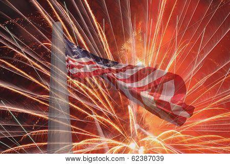 United States Flag Over Fireworks