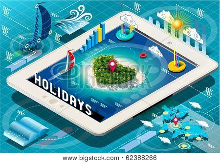 Isometric Holidays Infographic On Tablet