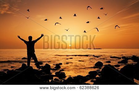 Man feeling freedom on beach during sunrise, birds flying around