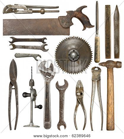 Old rusty tools, isolated