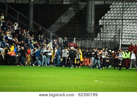 Football Hooligans Invasion On The Soccer Field