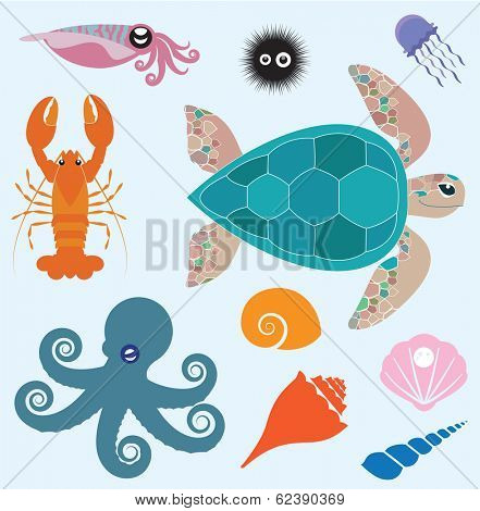 Vector set which represent various sea animals. Abstract decorative cute illustration. Graphic design elements for print and web.