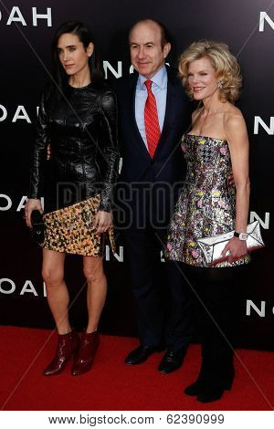 NEW YORK-MAR 26: (L-R) Jennifer Connelly, chief executive officer of Viacom Philippe Dauman and Deborah Dauman attend the 'Noah' premiere at the Ziegfeld Theatre on March 26, 2014 in New York City.