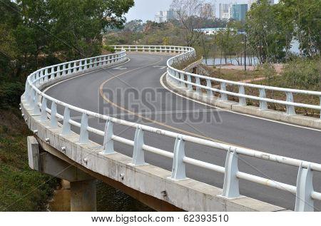 Curved road bridge