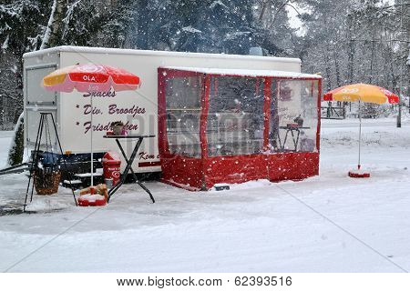 Netherlands - Loenen - February 2012: Snack Bar At The Loenense Waterfall.