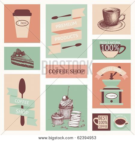 Vector set of vintage coffee cards