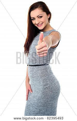 Young Woman With Her Thumb Up