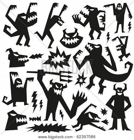 monsters - doodles set