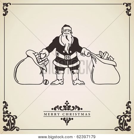 Santa Claus Gift Sacks. Vintage Christmas Card.