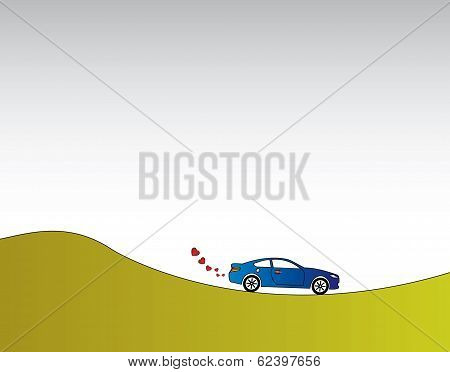 Blue Car With Heart Shaped Smoke On A Green Eco Nature Travel. Red Heart Shaped Smoke Coming Out