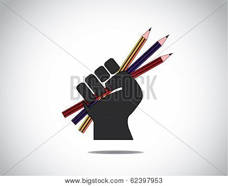 Human Hand Strongly Holding Colorful Pencils - Education Concept