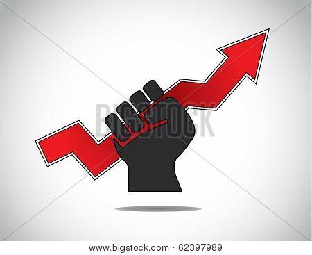 Human Hand Fist Holding Progress Arrow Of Success Concept
