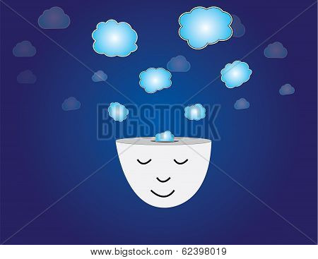 Young Human Head Dreaming Meditating With Thought Bubbles Art