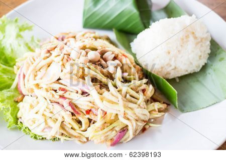 Mango Spicy Salad And Sticky Rice