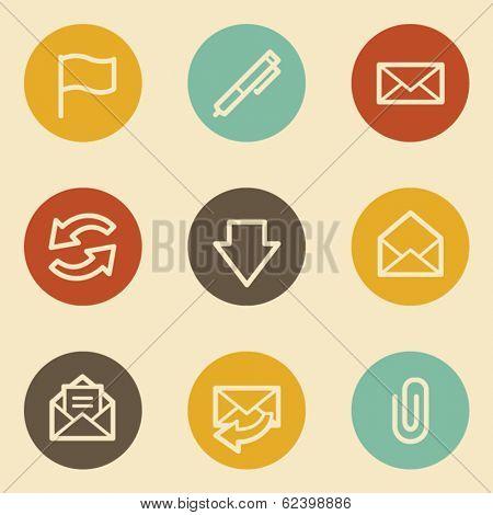 E-mail web icons, retro circle buttons