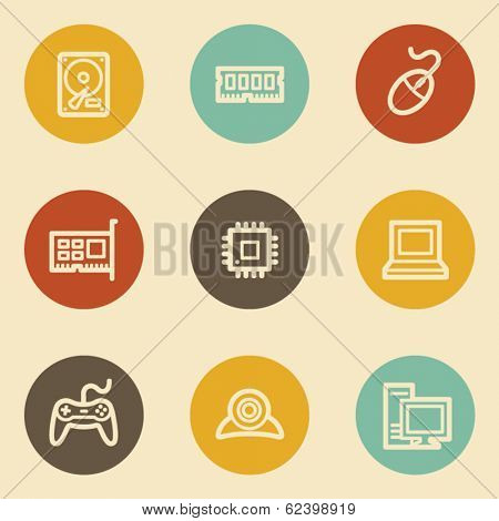 Computer web icons, retro circle buttons