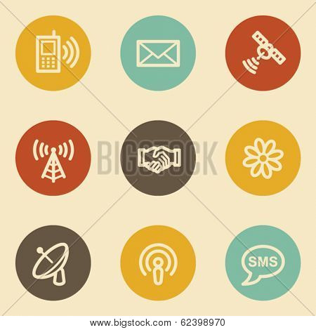 Communication web icons, retro circle buttons